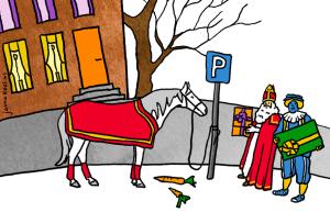 Sinterklaas en Piet bij het paard